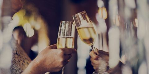 Champagne toast at holiday party