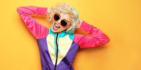 Eyewear, Pink, Outerwear, Yellow, Cool, Sunglasses, Hood, Fun, Jacket, Happy,