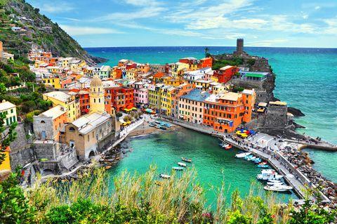Coast, Town, Sea, Natural landscape, Sky, Azure, Coastal and oceanic landforms, Tourism, Human settlement, Bay,