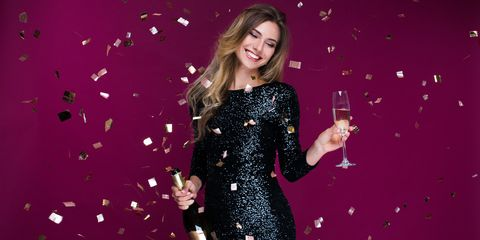 Clothing, Pink, Dress, Glitter, Fashion model, Performance, Cocktail dress, Singer, Magenta, Pop music,