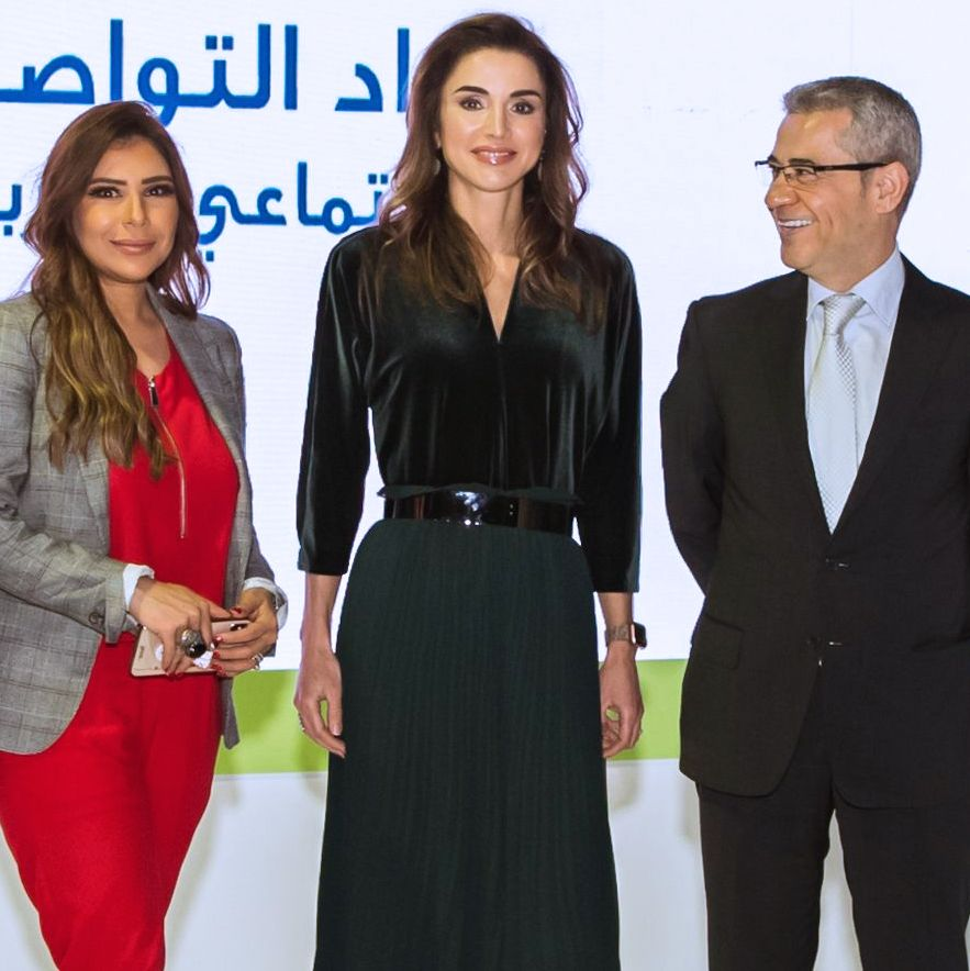 Queen Rania of Jordan Wore Zara Chiffon Culottes to the Arab Social Media Awards