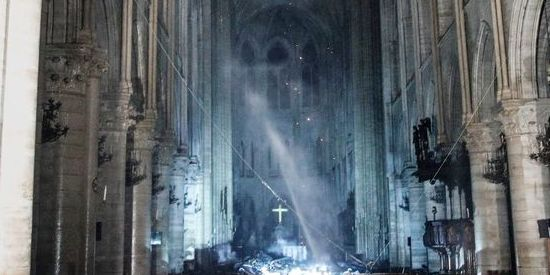 notre dame fire damage day after photo