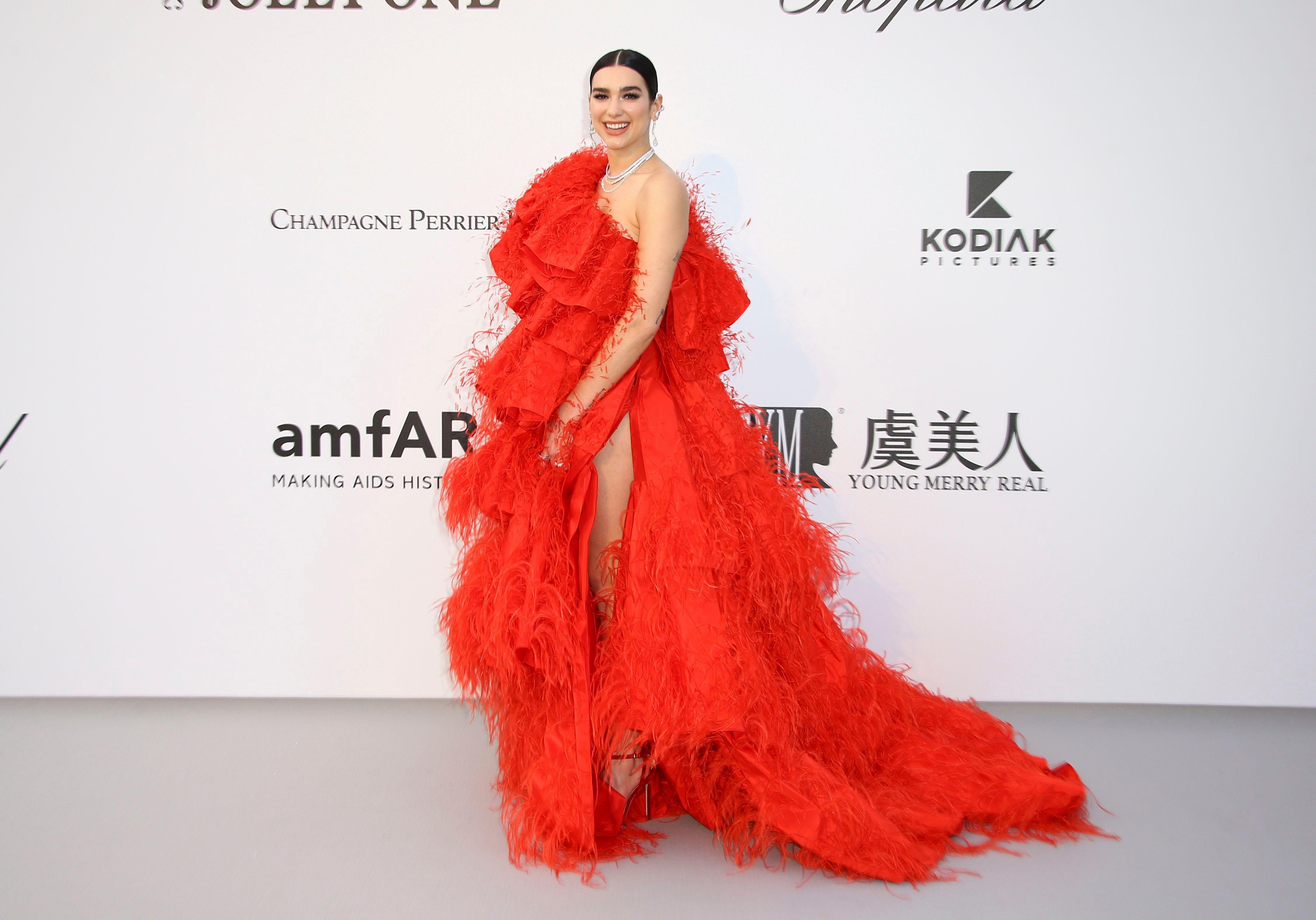 Dua Lipa Looks Ravishing in a Red Valentino Gown at the 2019 amfAR Gala