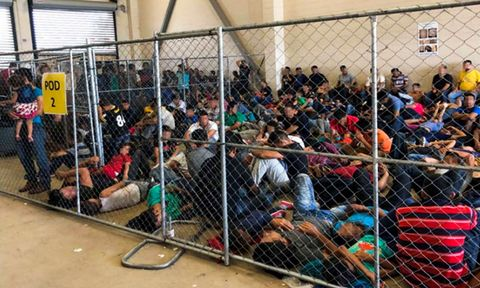 Overcrowding at DHS holding facility in McAllen, Texas, USA - 10 Jun 2019