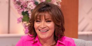 Lorraine Kelly in hot pink shirt dress River Island