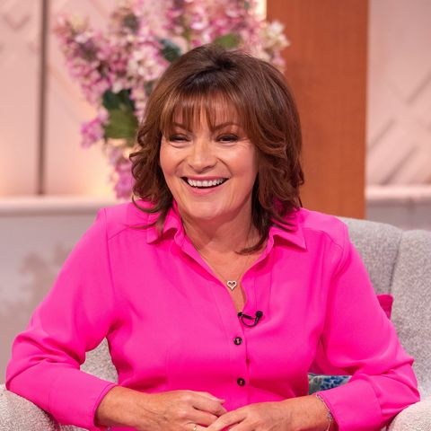 Lorraine Kelly in hot pink shirt dress River Island
