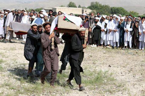 At least 30 civilians killed in a US backed drone strike in Nangarhar, Khogyani, Afghanistan - 19 Sep 2019