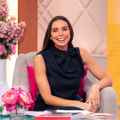 Christine Lampard stuns in chic tartan dress from Reserved
