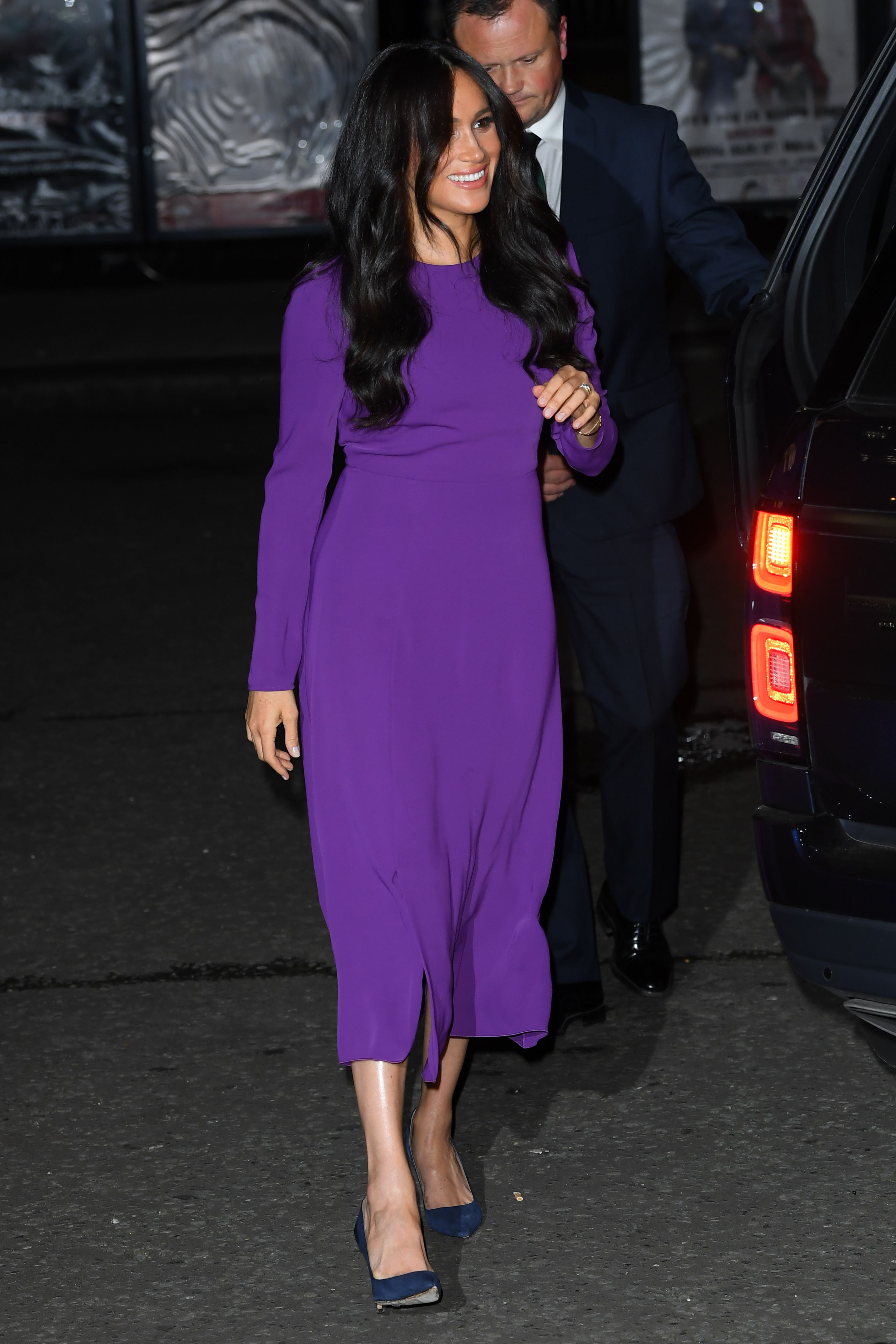 Meghan Markle Channeled Princess Diana in a Purple Aritzia Dress at the One Young World Summit