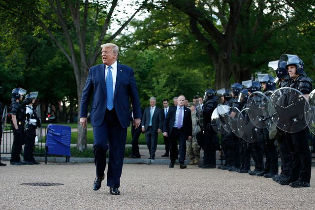 mandatory credit photo by patrick semanskyapshutterstock 10666032v president donald trump walks past police in lafayette park after visiting outside st johns church across from the white house, in washington part of the church was set on fire during protests on sunday night trump, washington, united states   01 jun 2020