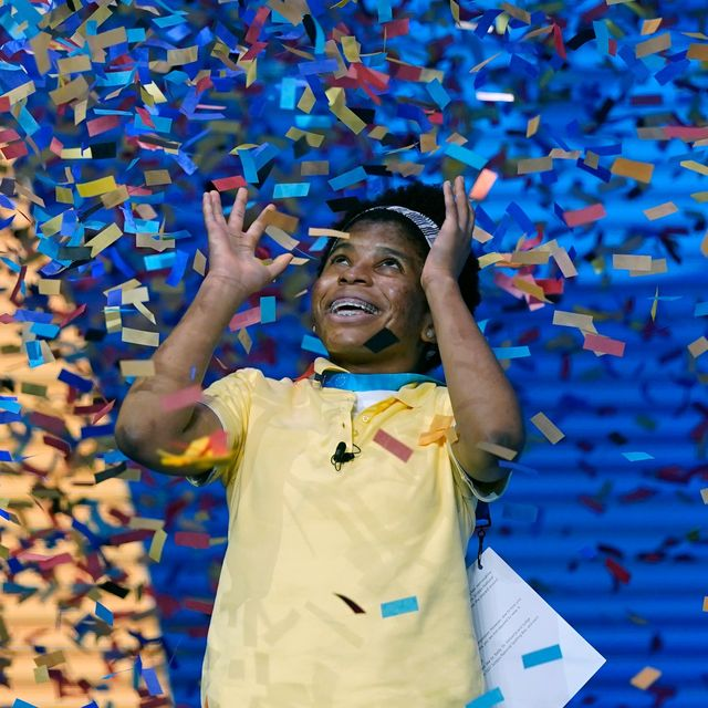 mandatory credit photo by john raouxapshutterstock 12201807s zaila avant garde, 14, from harvey, louisiana is covered with confetti as she celebrates winning the finals of the 2021 scripps national spelling bee at disney world, in lake buena vista, fla spelling bee, lake buena vista, united states   08 jul 2021
