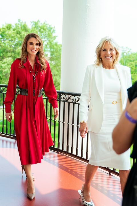 mandatory credit photo by shutterstock 12222583b her majesty queen rania al abdullah met with the first lady of the united states, dr jill biden, at the white house on monday, while accompanying his majesty king abdullah ii and his royal highness crown prince al hussein on a working visit to washington, dc queen rania meets first lady of the united states jill biden at the white house, washington dc, usa   19 jul 2021