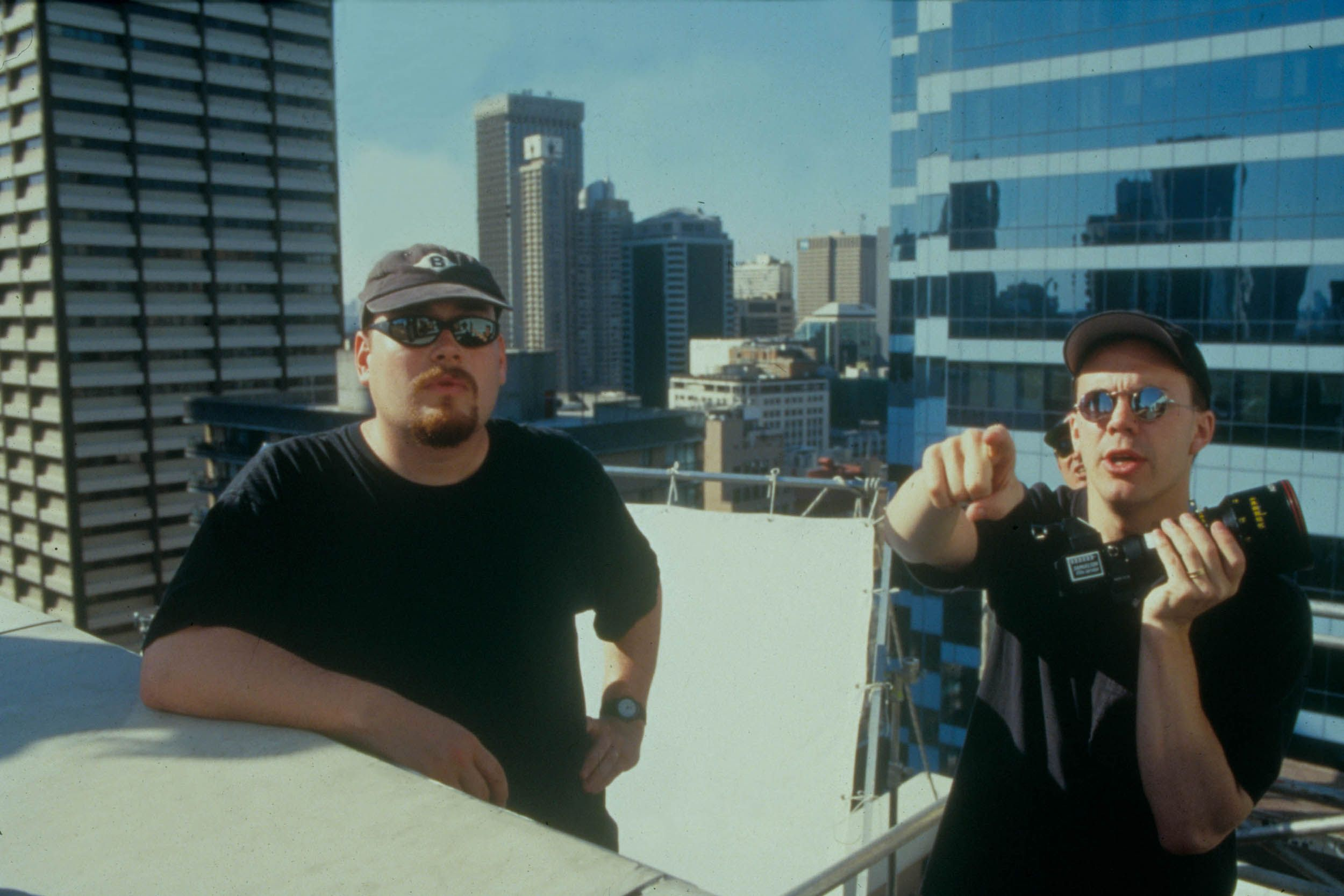 Directors Andy Wachowski and Larry Wachowski on the set of their 1999 film The Matrix.