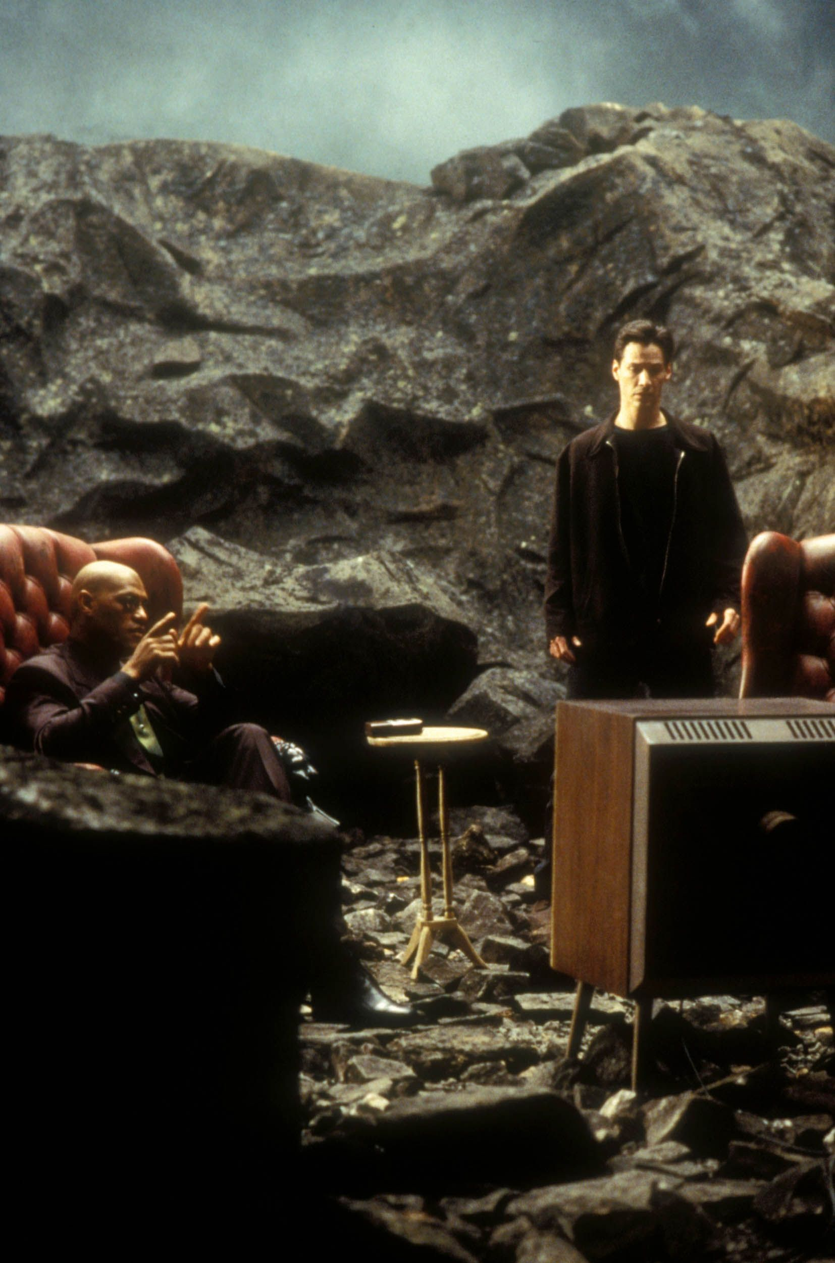 Laurence Fishburne and Keanu Reeves in the 1999 film The Matrix.