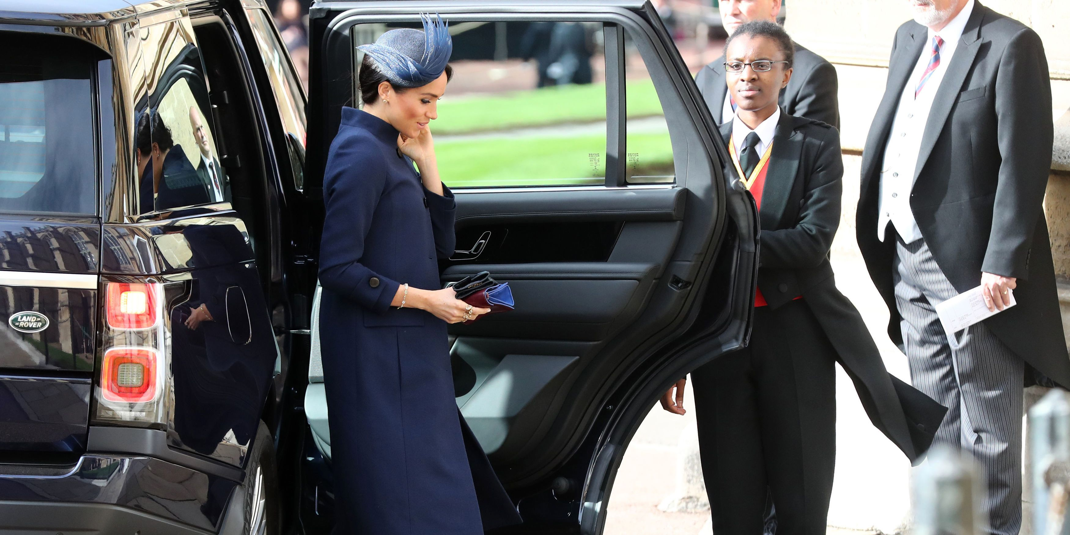 Meghan Markle Wears a Navy Givenchy Dress to Princess Eugenie's Royal Wedding