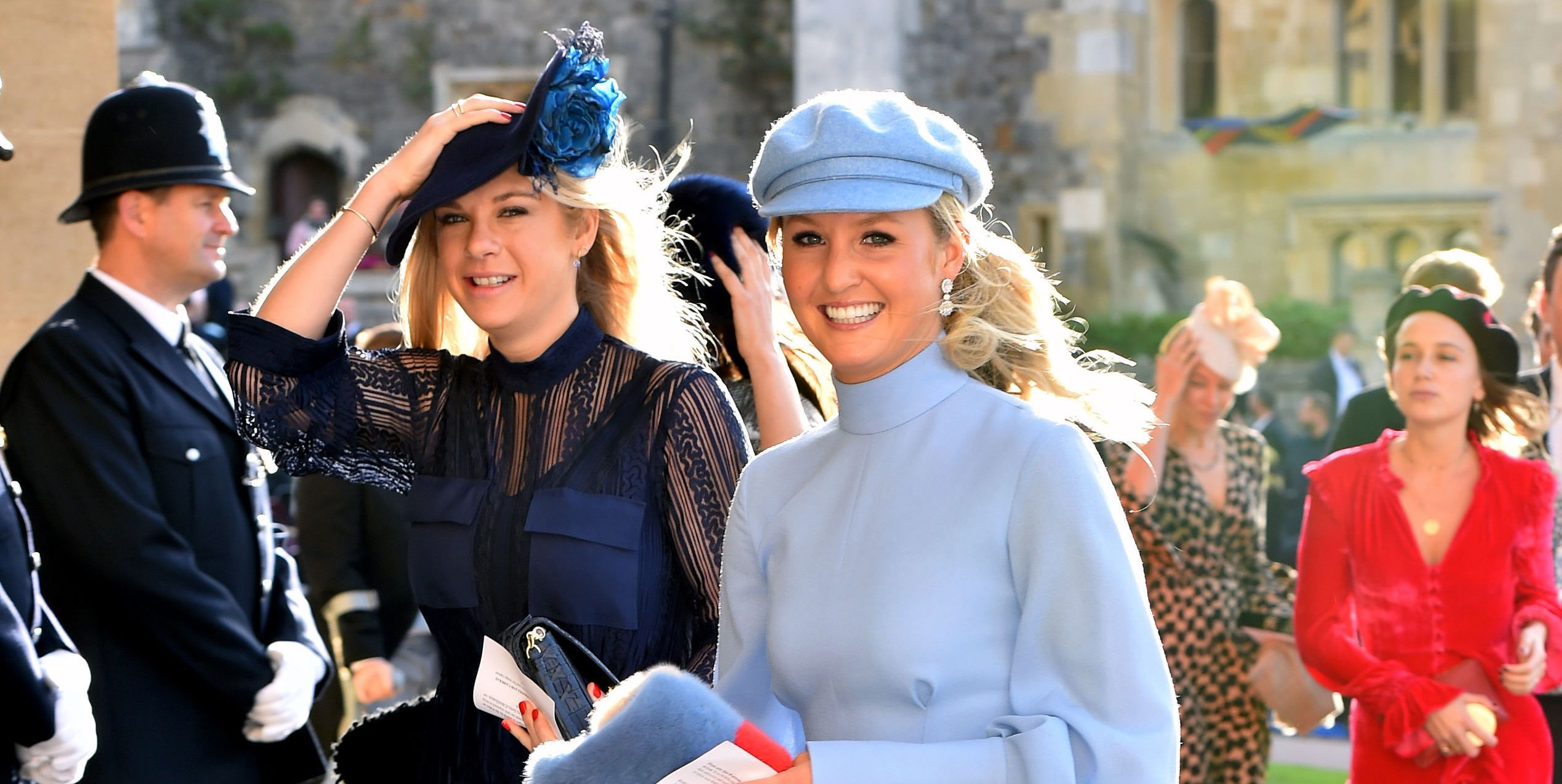 Prince Harry's Ex Chelsy Davy Arrives in a Navy Sheer Dress at Princess Eugenie's Wedding
