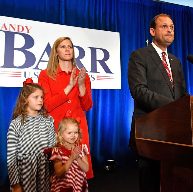 mandatory credit photo by timothy d easleyapshutterstock 9969204b us rep andy barr, r ky, right, with his wife carol and daughters eleanor and mary clay look out over his supporters at his victory celebration in lexington, ky election 2018 house barr kentucky, lexington, usa   06 nov 2018