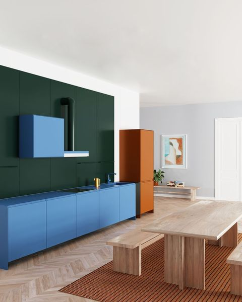 boldly coloured kitchen by supaform
