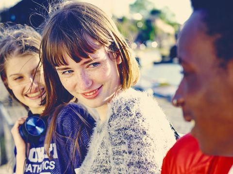 Smile, People, Eye, Happy, Facial expression, Friendship, Youth, Sweater, Street fashion, Bangs,