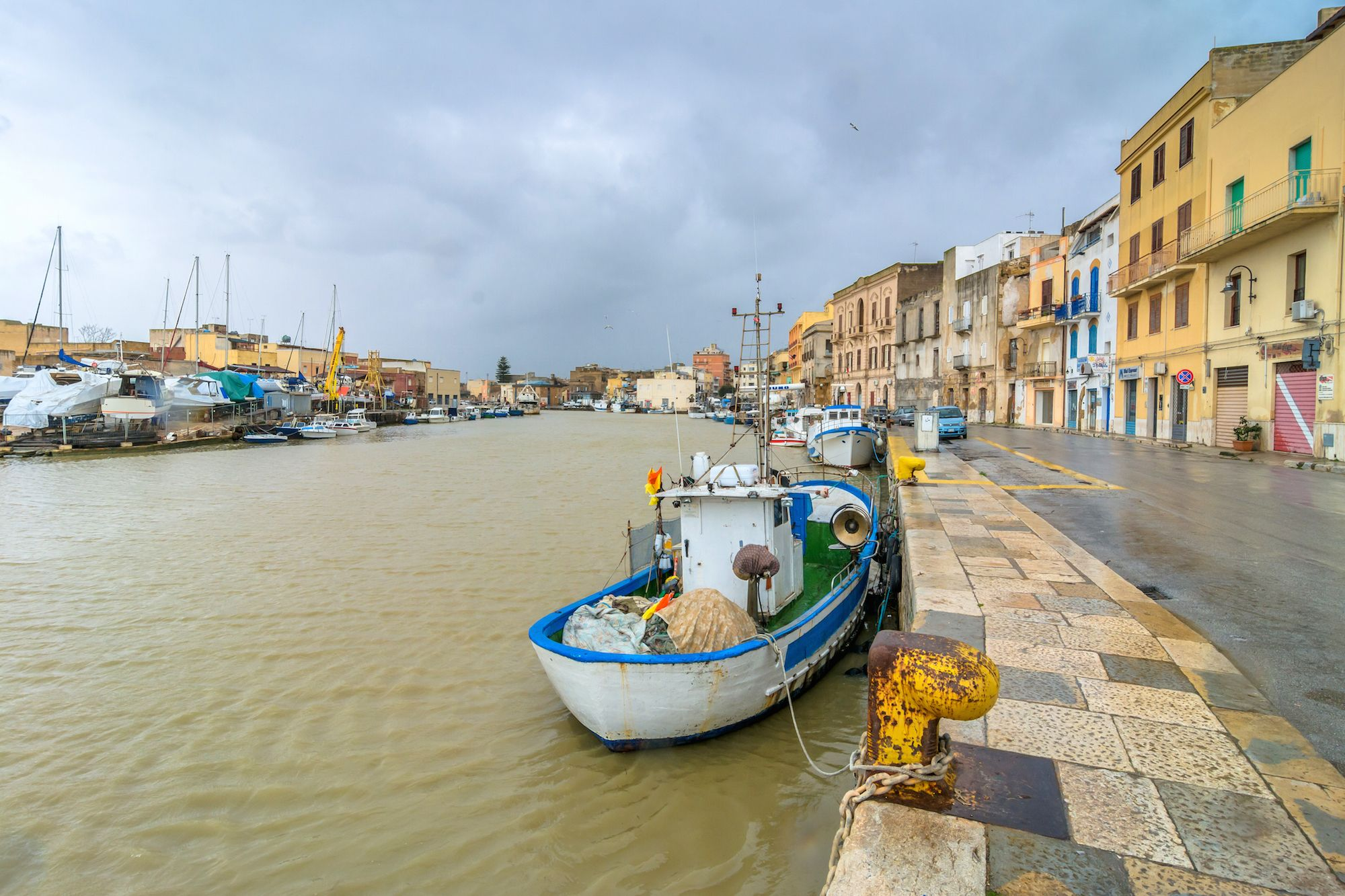 fishing boats and canal in Mazara del Vallo, Sicily