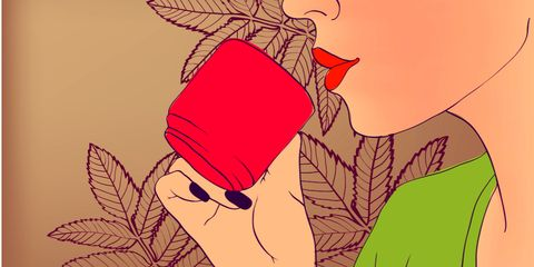 Red, Illustration, Leaf, Plant, Hand, Drink, Graphic design, Fictional character, Art, Animation,