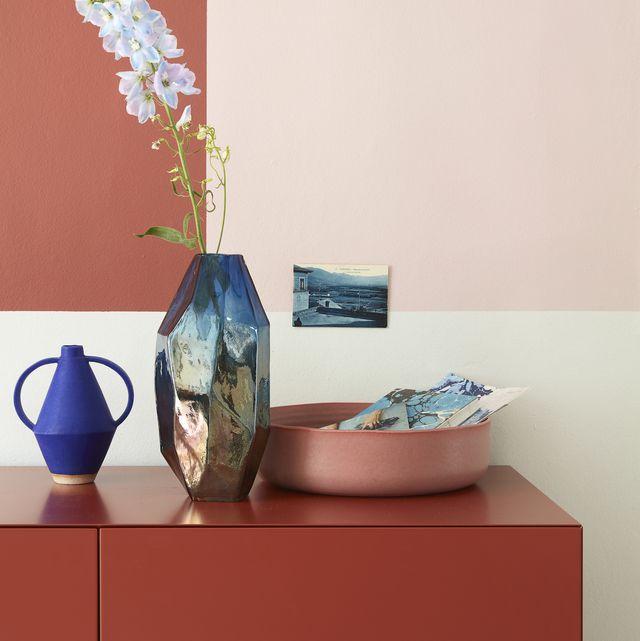 terracotta coloured cabinetsideboard, photography tim young, styling lorraine dawkins
