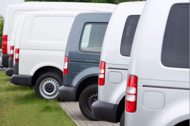 sideview of new vans in a row