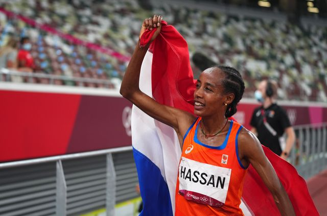 tokyo, japan   august 10 sifan hassan of the netherlands celebrates winning the gold medal after the womens 5000m   final on day ten of the tokyo 2020 olympic games at olympic stadium on august 02, 2021 in tokyo, japan photo by aleksandra szmigiel poolgetty images