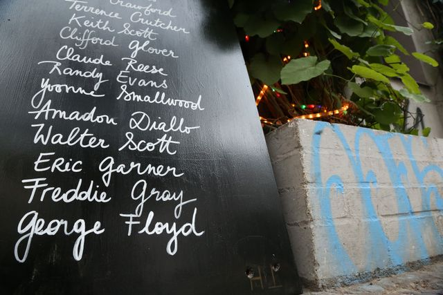 black wall with white lettering showing names of those killed by police brutality in tribute