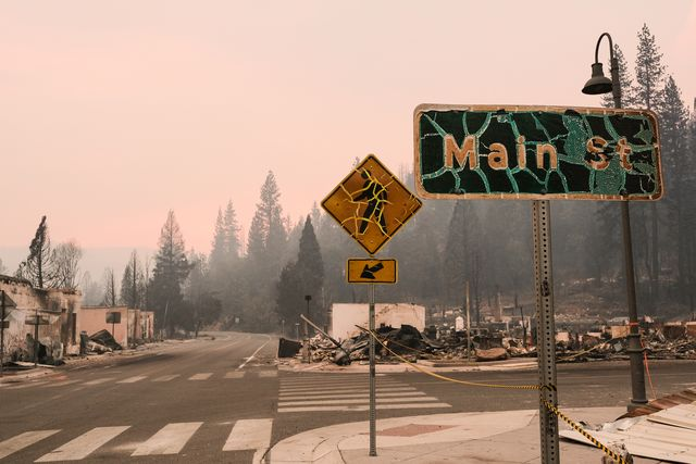 greenville, ca   august 08 street signs burned by the dixie fire stand on the corner of highway 89 and main street on august 8, 2021 in greenville, california the dixie fire, which has incinerated more than 463,000 acres, is the second largest recorded wildfire in state history and remains only 21 percent contained photo by david odishogetty images