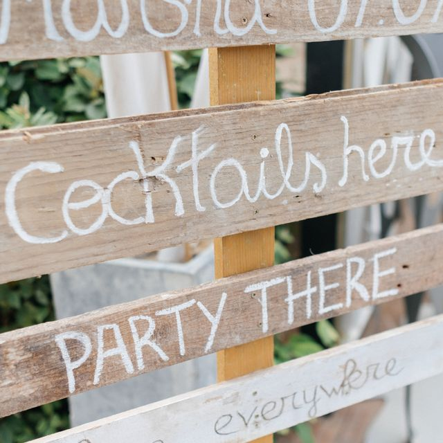 Signs for a wedding on the beach