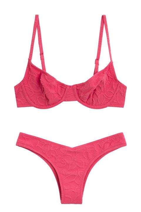 bikini jacquard en rosa con braguita de corte en v, de la  colección swimwear ss20 de oysho