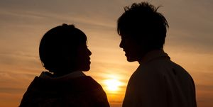silhouette of a Japanese couple