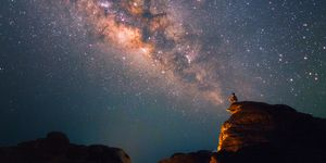 Silhouette of a man looking at the Milky Way Stars shining above the Grand Canyon of Thailand (Sam Phan Bok)
