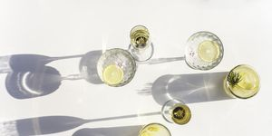Silhouettes of Summer Drinks in Crystal and Glass, Horizontal
