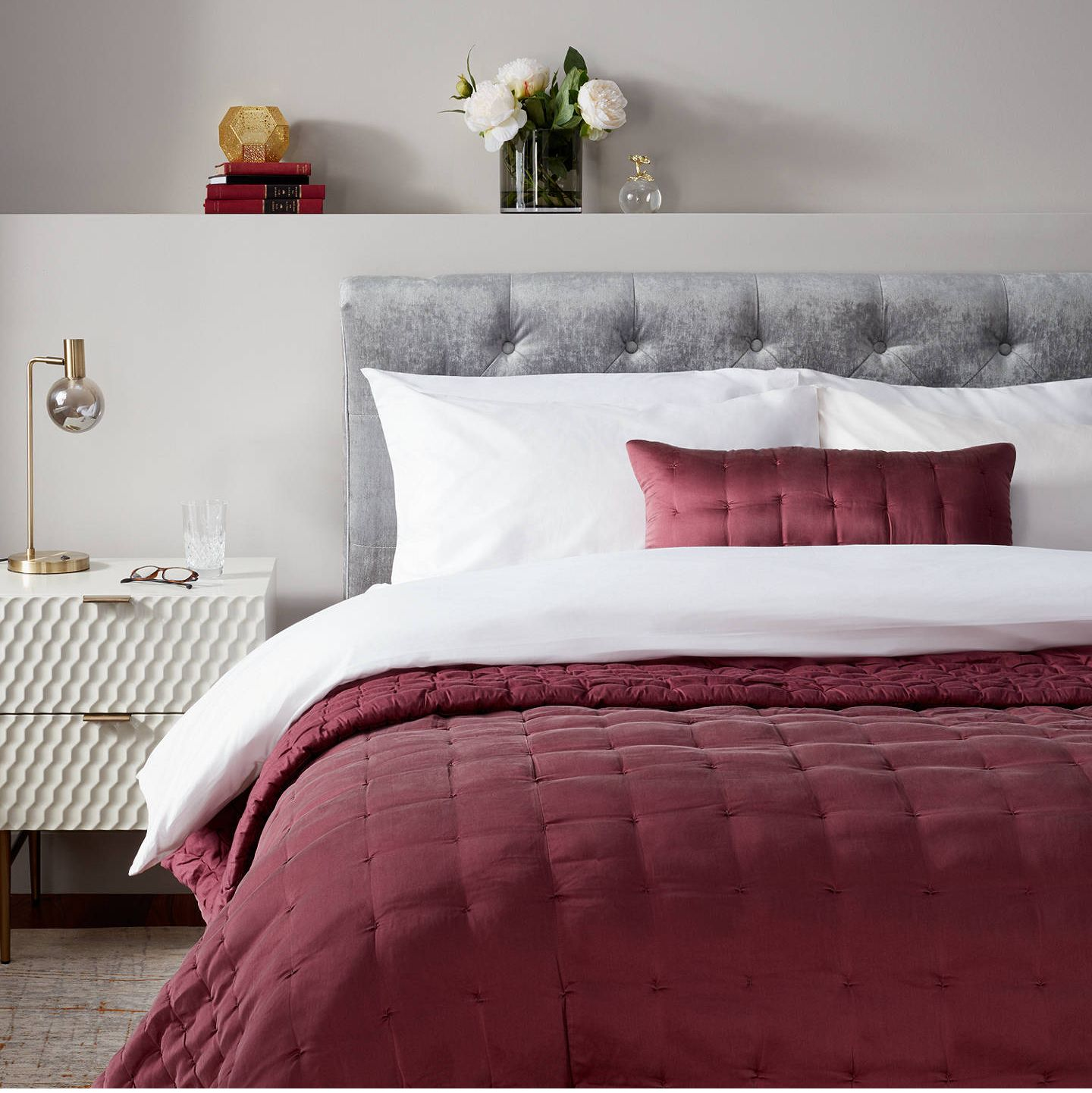 John Lewis cherry-red silk bed throw