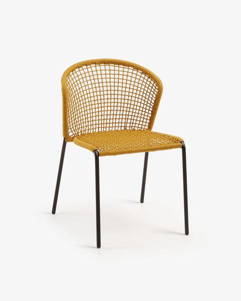 silla mostaza cuerda y acero galvanizado