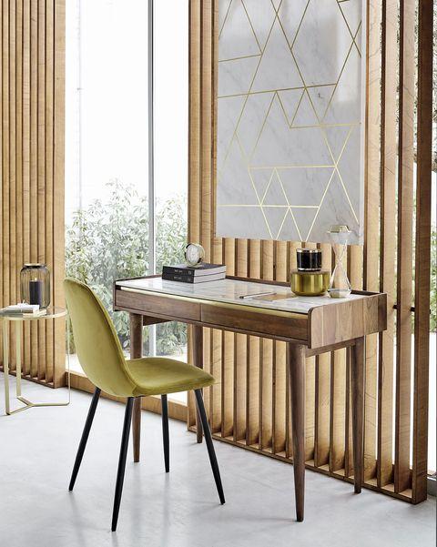 silla de escritorio tapizada en terciopelo verde