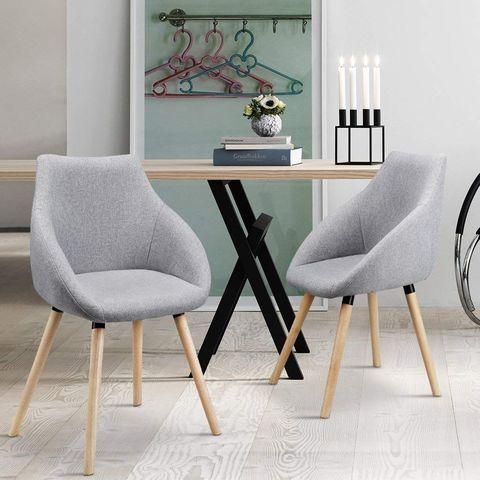 Silla gris tapizada