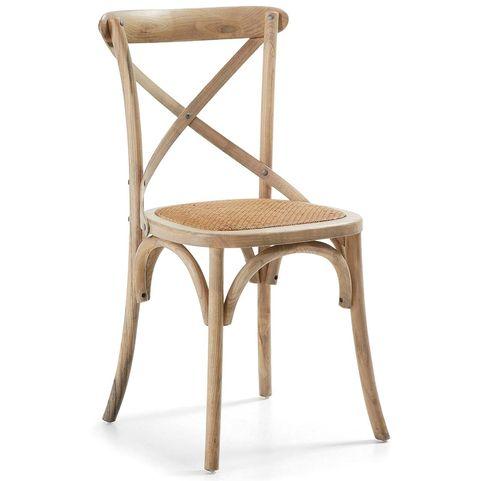 Silla de madera de olmo con asiento de ratán