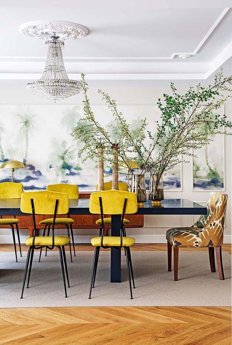 Yellow, Room, Wood, Interior design, Furniture, Floor, Chair, Ceiling, Interior design, Light fixture,