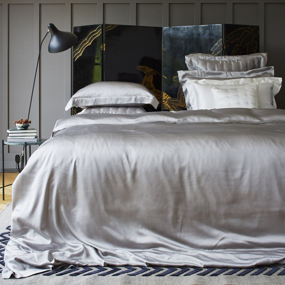Beautiful grey silk bedding