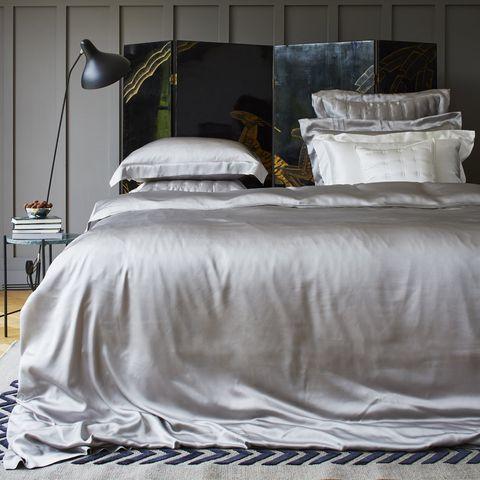 Beautiful grey silk bedding