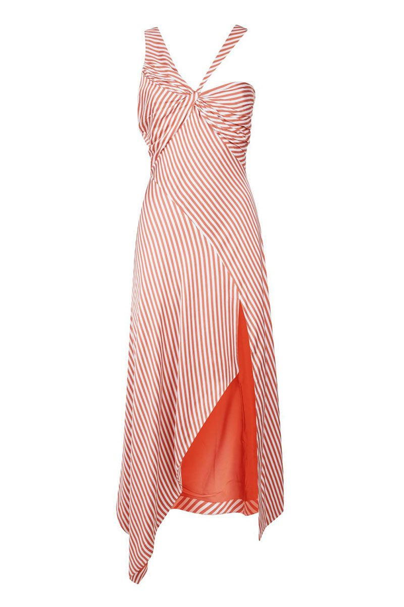 orange one shoulder dress