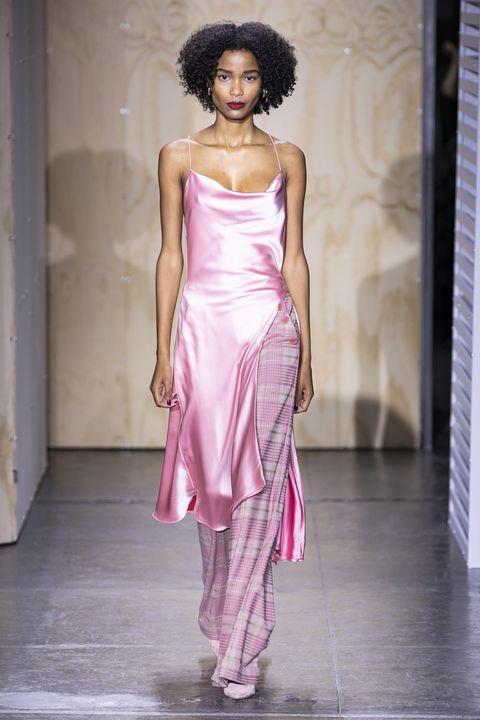 Fashion model, Fashion show, Fashion, Runway, Clothing, Pink, Shoulder, Dress, Haute couture, Beauty,
