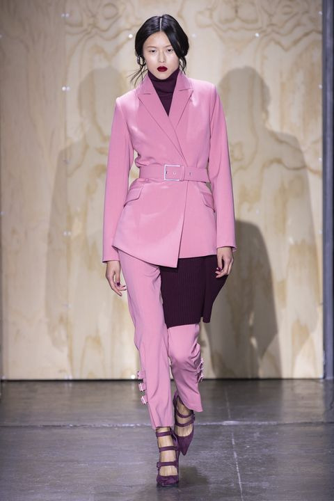 Fashion, Fashion model, Fashion show, Runway, Clothing, Pink, Pantsuit, Haute couture, Outerwear, Event,