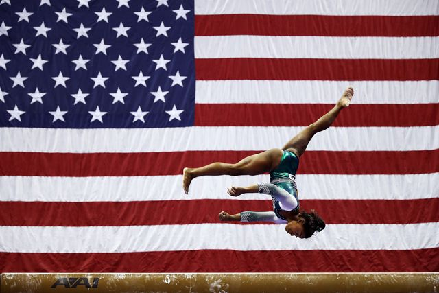 kansas city, missouri   august 09   simone biles competes on the balance beam during the senior womens competition of the 2019 us gymnastics championships at the sprint center on august 09, 2019 in kansas city, missouri photo by jamie squiregetty images