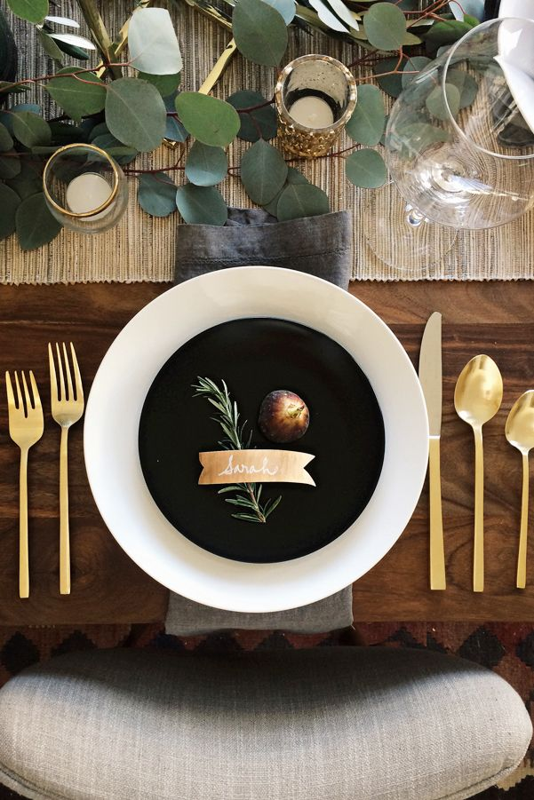 black and white thanksgiving table settings