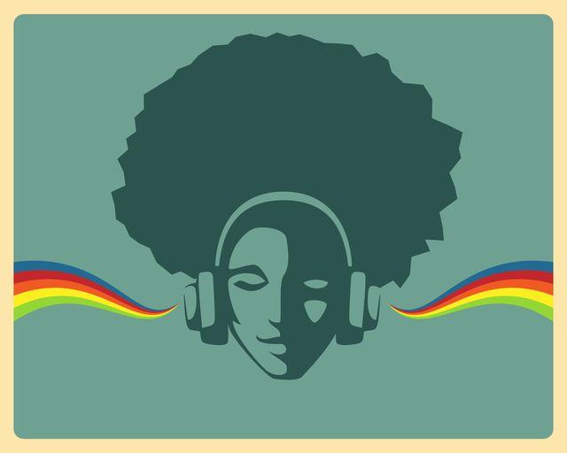 beautiful black girl listening to music from headphones