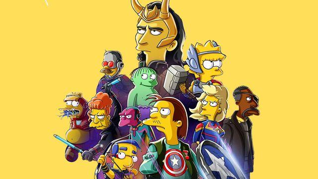 los personajes de la serie los simpson caracterizados como personajes de marvel